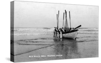 Newport, Oregon - US Lifeguard Drill on the Beach-Lantern Press-Stretched Canvas Print