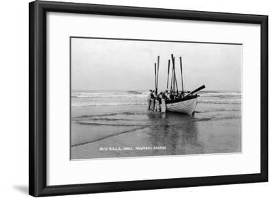 Newport, Oregon - US Lifeguard Drill on the Beach-Lantern Press-Framed Art Print