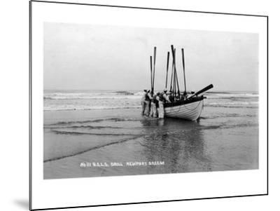 Newport, Oregon - US Lifeguard Drill on the Beach-Lantern Press-Mounted Art Print