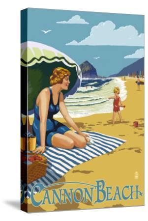 Woman at Cannon Beach, Oregon-Lantern Press-Stretched Canvas Print