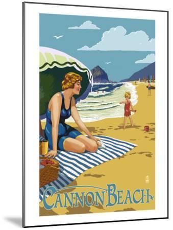 Woman at Cannon Beach, Oregon-Lantern Press-Mounted Art Print