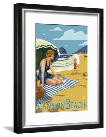 Woman at Cannon Beach, Oregon-Lantern Press-Framed Art Print