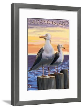 Sea Gulls - Camano Island, WA-Lantern Press-Framed Art Print