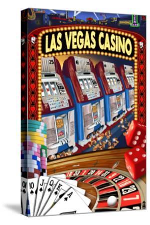 Las Vegas Casino Montage-Lantern Press-Stretched Canvas Print