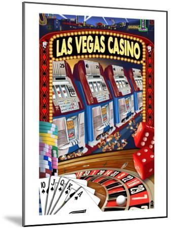 Las Vegas Casino Montage-Lantern Press-Mounted Art Print