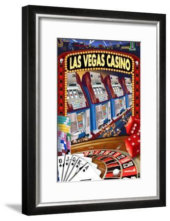 Las Vegas Casino Montage-Lantern Press-Framed Art Print