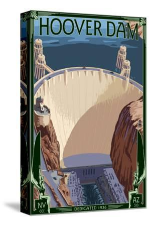 Hoover Dam Aerial-Lantern Press-Stretched Canvas Print