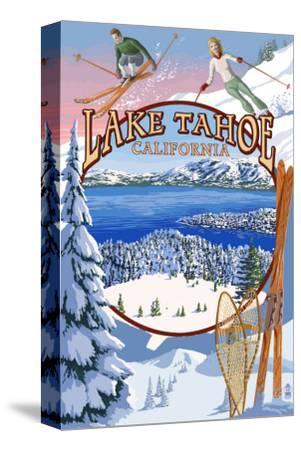 Lake Tahoe, CA Winter Views-Lantern Press-Stretched Canvas Print