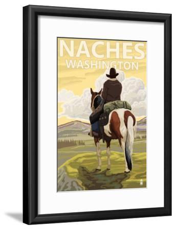 Naches, Washington - Cowboy-Lantern Press-Framed Art Print