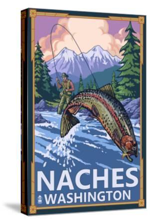 Naches, Washington - Fisherman-Lantern Press-Stretched Canvas Print