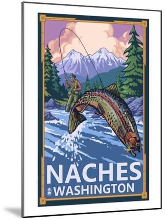 Naches, Washington - Fisherman-Lantern Press-Mounted Art Print