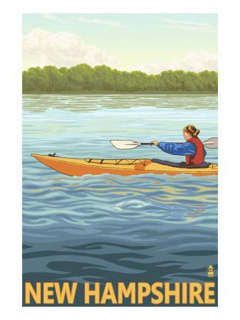 New Hampshire - Kayak Scene-Lantern Press-Framed Art Print
