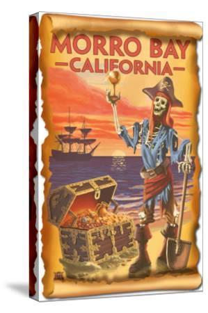 Morro Bay, CA - Pirate Plunder-Lantern Press-Stretched Canvas Print