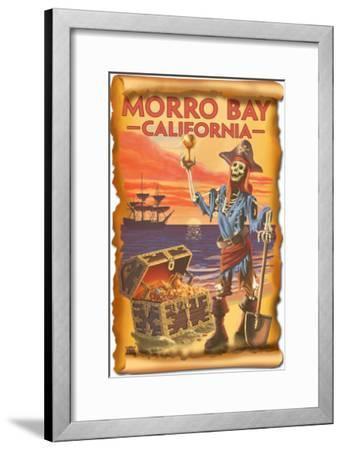 Morro Bay, CA - Pirate Plunder-Lantern Press-Framed Art Print