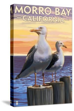 Morro Bay, CA - Sea Gulls-Lantern Press-Stretched Canvas Print