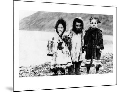 Alaska - Native Children in Parkas-Lantern Press-Mounted Art Print