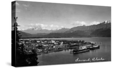 Seward, Alaska - Panoramic View of Town and Harbor-Lantern Press-Stretched Canvas Print