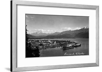 Seward, Alaska - Panoramic View of Town and Harbor-Lantern Press-Framed Art Print