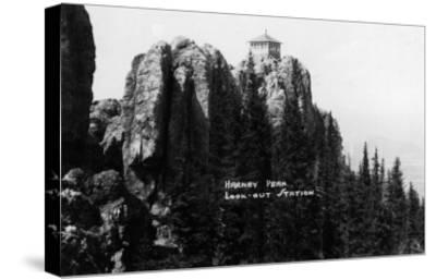 Black Hills Nat'l Forest, South Dakota - Harney Peak Look-out Station-Lantern Press-Stretched Canvas Print