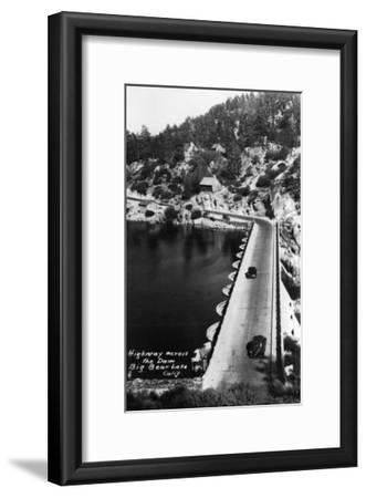 Big Bear Lake, California - View of Highway across the Dam-Lantern Press-Framed Art Print