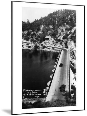Big Bear Lake, California - View of Highway across the Dam-Lantern Press-Mounted Art Print