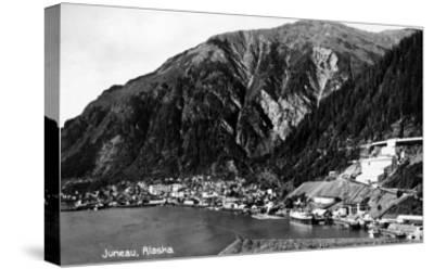 Juneau, Alaska - Aerial View of Town and Coast-Lantern Press-Stretched Canvas Print