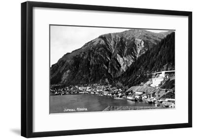 Juneau, Alaska - Aerial View of Town and Coast-Lantern Press-Framed Art Print