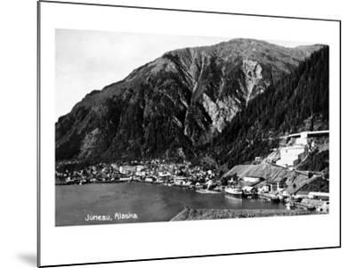 Juneau, Alaska - Aerial View of Town and Coast-Lantern Press-Mounted Art Print