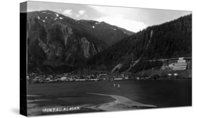 Juneau, Alaska - Panoramic View of Town from Water-Lantern Press-Stretched Canvas Print