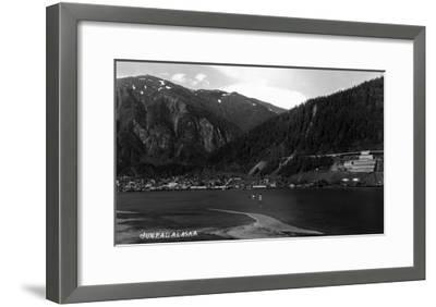 Juneau, Alaska - Panoramic View of Town from Water-Lantern Press-Framed Art Print