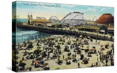 Ocean Park, California - View of Lick's Dome Pier-Lantern Press-Stretched Canvas Print