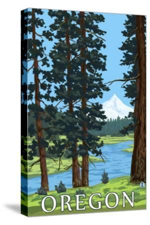 Mt. Hood and River - Oregon Scene-Lantern Press-Stretched Canvas Print