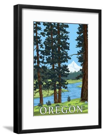 Mt. Hood and River - Oregon Scene-Lantern Press-Framed Art Print