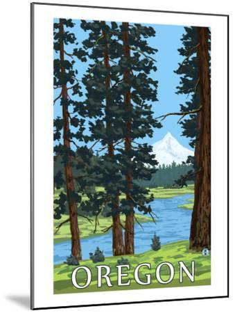 Mt. Hood and River - Oregon Scene-Lantern Press-Mounted Art Print