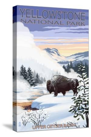 Bison Snow Scene - Yellowstone National Park-Lantern Press-Stretched Canvas Print