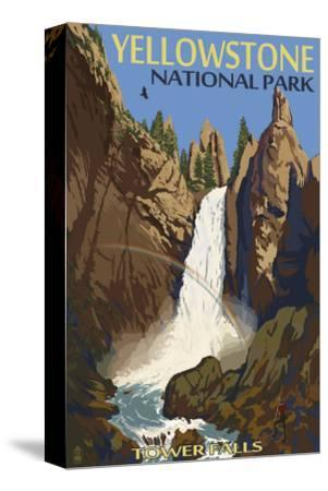 Tower Falls - Yellowstone National Park-Lantern Press-Stretched Canvas Print