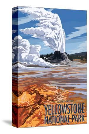 Castle Geyser - Yellowstone National Park-Lantern Press-Stretched Canvas Print