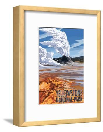 Castle Geyser - Yellowstone National Park-Lantern Press-Framed Art Print
