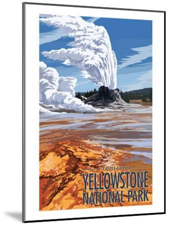 Castle Geyser - Yellowstone National Park-Lantern Press-Mounted Art Print