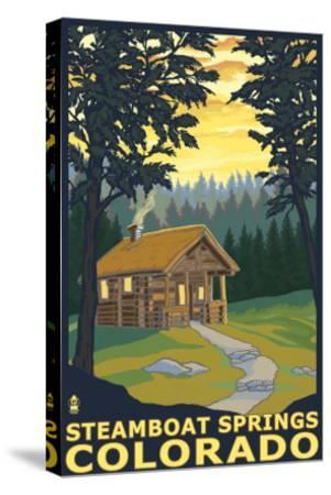Steamboat Springs, CO - Cabin in Woods-Lantern Press-Stretched Canvas Print
