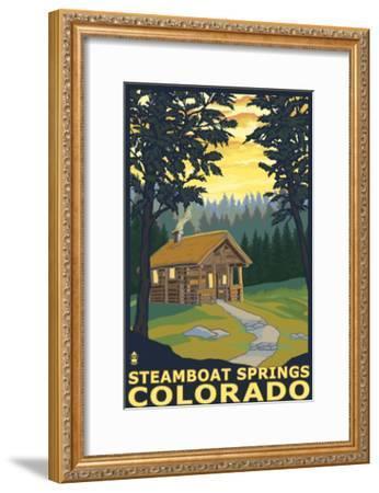 Steamboat Springs, CO - Cabin in Woods-Lantern Press-Framed Art Print