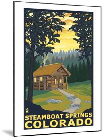 Steamboat Springs, CO - Cabin in Woods-Lantern Press-Mounted Art Print