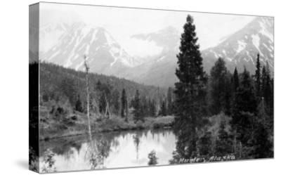 Hunter, Alaska - View of Mountains and a Lake-Lantern Press-Stretched Canvas Print