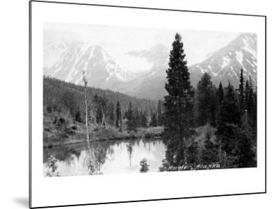 Hunter, Alaska - View of Mountains and a Lake-Lantern Press-Mounted Art Print