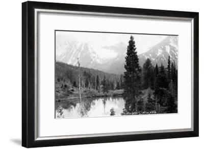 Hunter, Alaska - View of Mountains and a Lake-Lantern Press-Framed Art Print