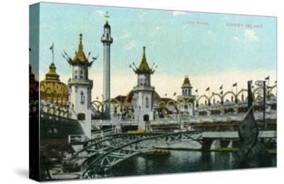 Coney Island, New York - Luna Park Scene-Lantern Press-Stretched Canvas Print