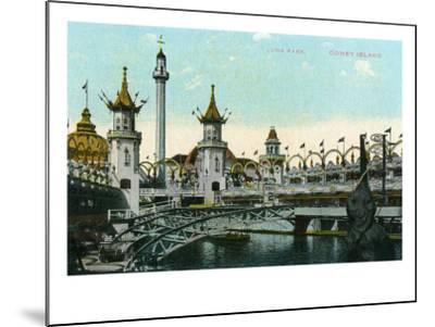 Coney Island, New York - Luna Park Scene-Lantern Press-Mounted Art Print