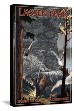 Lassen Peak, California - Ancient Eruption-Lantern Press-Stretched Canvas Print