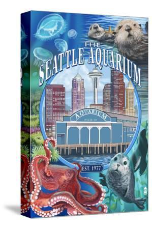 Seattle Aquarium - Seattle, WA-Lantern Press-Stretched Canvas Print