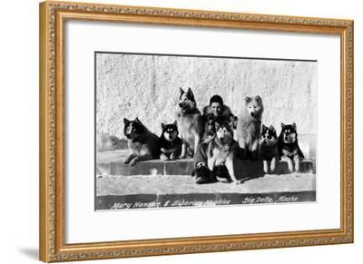 Big Delta, Alaska - Mary Hansen and Siberian Huskies-Lantern Press-Framed Art Print